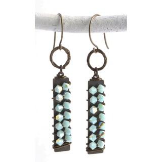 St. John Mint Alabaster Crystal Dangle Earrings