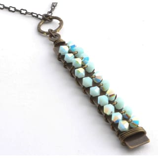 St. Lucia Mint Alabaster Crystal Double-row Pendant Necklace