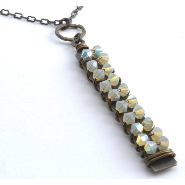 Tuscany Sand Opal Crystal Pendant Necklace
