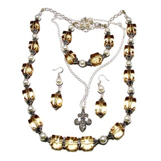 Champagne Lucite Crystal White Glass Pearl 4-piece Wedding Jewelry Set