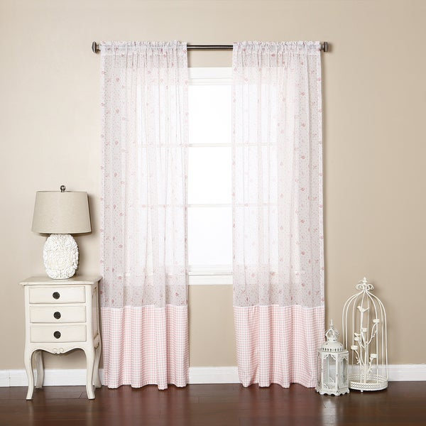 Lights Out Pink Sheer Rose Checkered Rod Pocket 84-inch Curtain Panel Pair