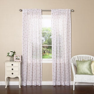 Sheer Floral Rose Striped Rod Pocket 84-inch Curtain Panel Pair