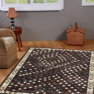 Hand-knotted Nisha Brown Contemporary Rug (7'9 x 9'9)