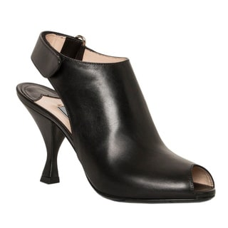 Prada Women's Black Leather Peep-toe Booties