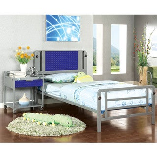 Furniture of America Brennise Metal 2-Piece Bed with Nightstand Set