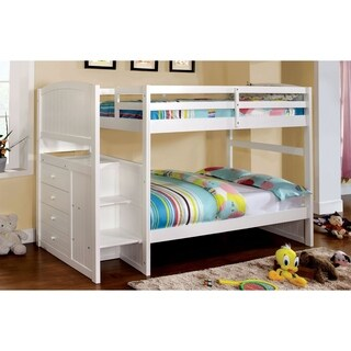 Furniture of America Redenell White Bunk Bed with Built-in Storage and Ladder
