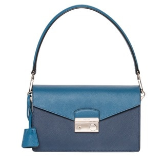 Prada 'Sound' Blue Bi-colored Saffiano Leather Bag