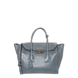 Prada Marine Blue Glace Leather Tote with Flap