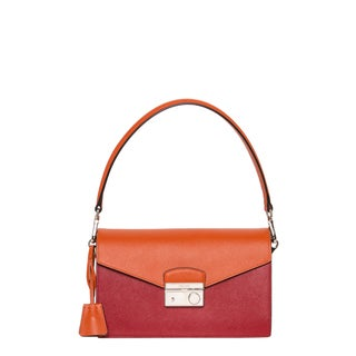 Prada 'Sound' Orange and Red Bi-color Saffiano Leather Bag