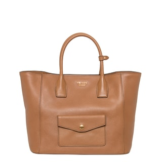 Prada 'Cuir' Caramel Saffiano Leather Pocket Tote