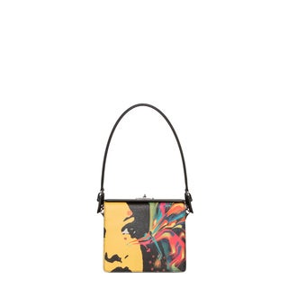 Prada Face-printed Saffiano Leather Shoulder Bag