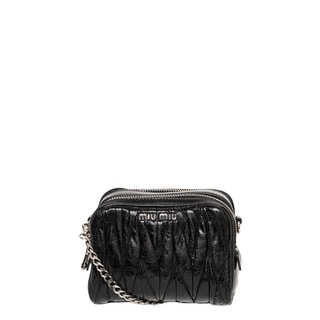 Miu Miu Black Matelass� Leather Mini Crossbody