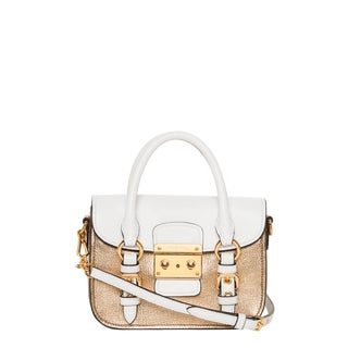 Miu Miu 'Madras' White and Metallic Goldtone Mini Crossbody