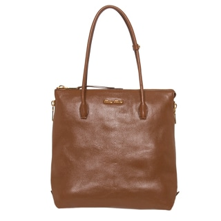 Miu Miu Brown Textured Leather Side Zipper Tote