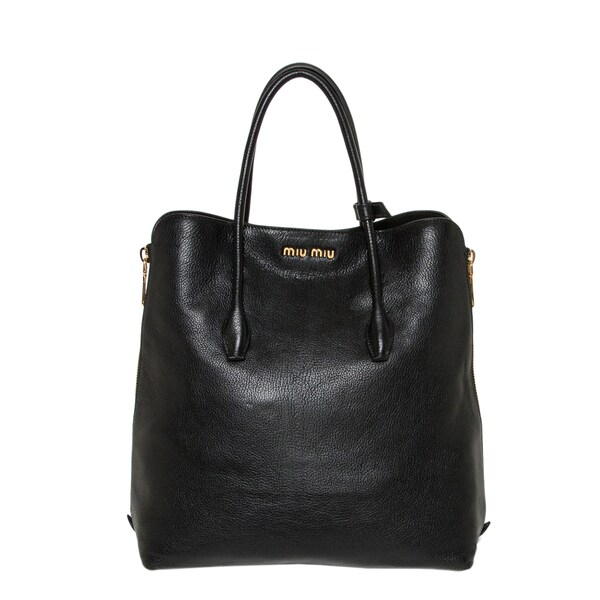 Miu Miu Black Leather Side-zip Tote