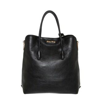 Miu Miu Black Leather Side-zip Tote
