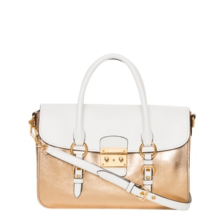 Miu Miu 'Madras' White and Metallic Gold Leather Shoulder Bag