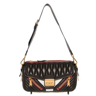 Miu Miu Small Tri-color Matelassé Leather Biker Shoulder Bag