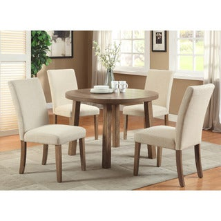 Furniture of America Seline Round Weathered Elm Dining Table