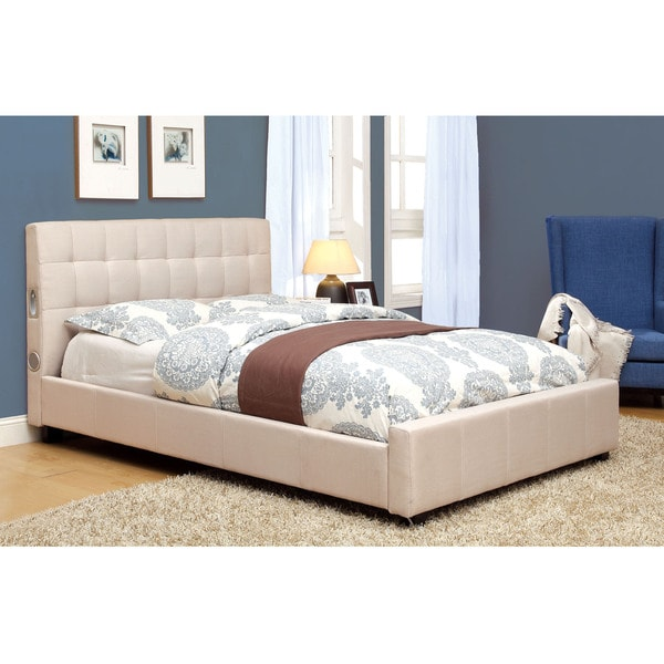 Furniture of america behati fabric upholstered platform for Furniture of america bed reviews
