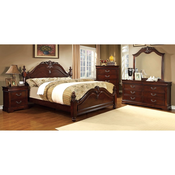 furniture of america miralle 4 piece dark cherry poster bedroom set