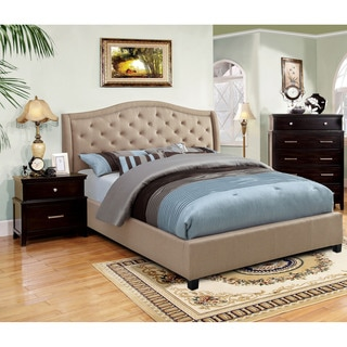 Furniture of America Therise Taupe Fabric Upholstered Platform Bed