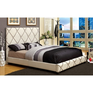 Furniture of America Riscella Ivory Fabric Low Profile Bed