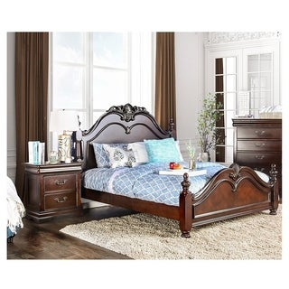 Furniture of America Bastillina English Style 2-Piece Cherry Poster Bed with Nightstand Set