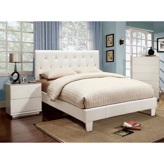 Furniture of America Mircella 2-piece White Leatherette Platform Bedroom Set