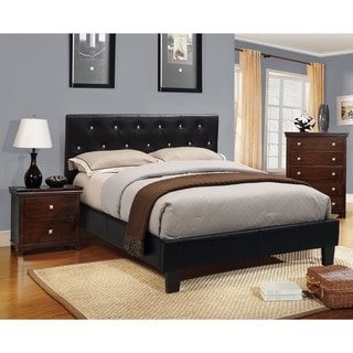 Furniture of America Mircella 3-Piece Black Leatherette Bedroom Set