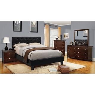 Furniture of America Mircella 4-Piece Black Leatherette Bedroom Set