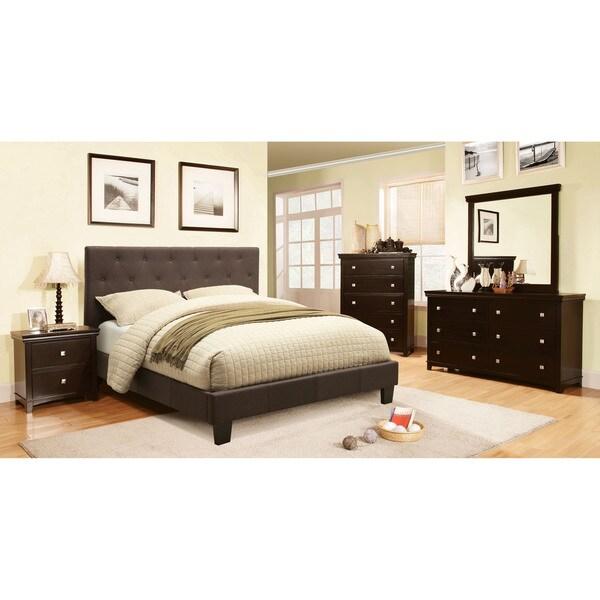 furniture of america perdella 4 piece grey low profile bedroom set
