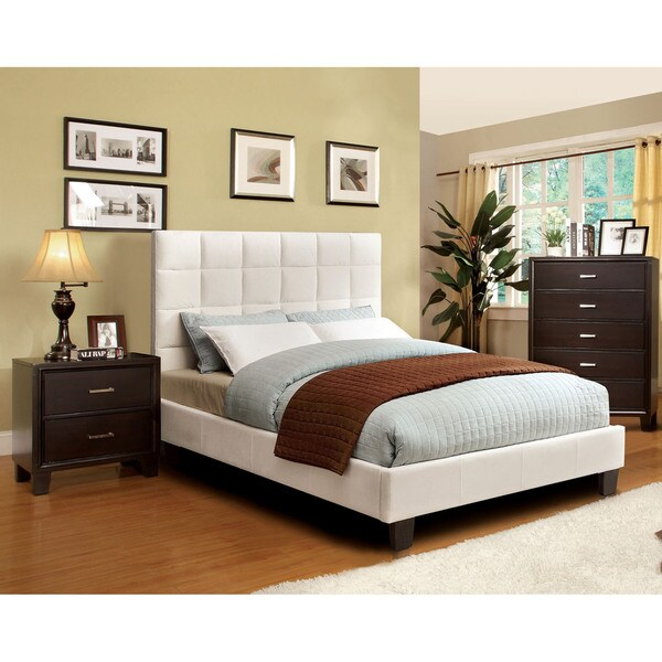Furniture of America Sherolle Modern 2-piece Ivory Flannelette Bed with Nightstand Set