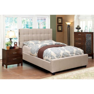 Furniture of America Behati 2-piece Bluetooth Ivory Bed with Nightstand Set