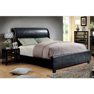 Furniture of America Tamera 2-piece Leatherette Platform Bed with Nightstand Set