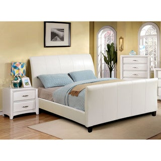 Furniture of America Benedicte Modern White 2-piece Sleigh Bed with Nightstand Set