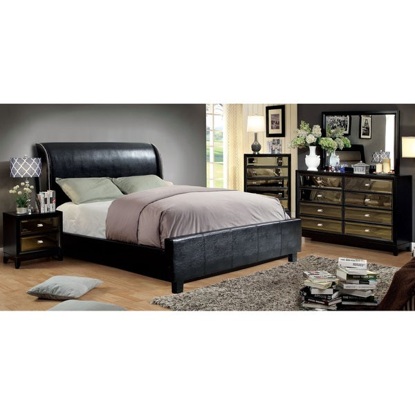 Furniture of America Tamera 4-piece Black Platform Bedroom Set