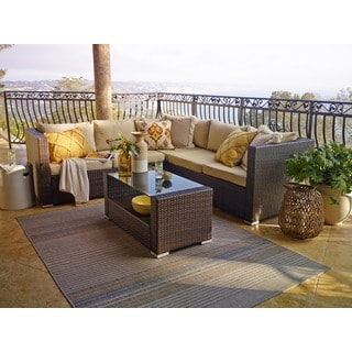 the-Hom Kessler Brown 4-piece Outdoor Wicker Sectional Sofa Set