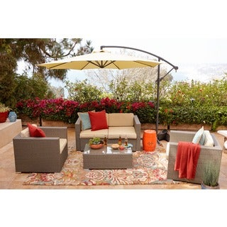 the-Hom Cane 5-piece Light Brown Outdoor Wicker Coversation Set