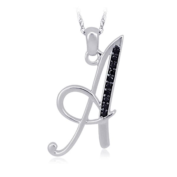 Sterling Silver Black Diamond Accent Initial Pendant Necklace
