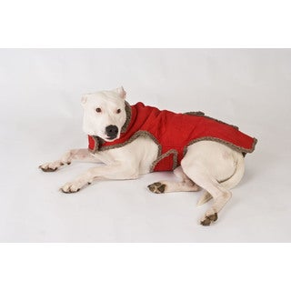 Red Faux Suede / Berber Pet Coat