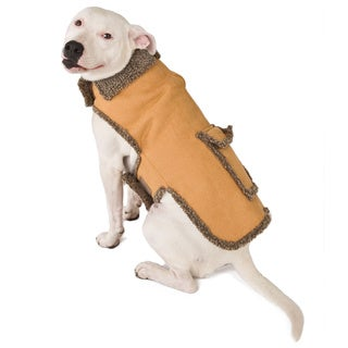 Caramel Faux Suede / Berber Pet Coat