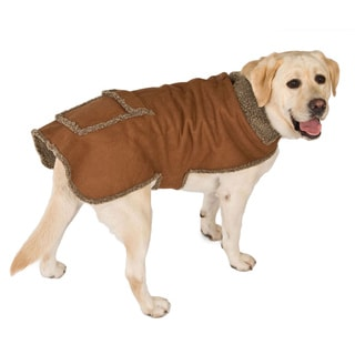 Chocolate Faux Suede / Berber Pet Coat