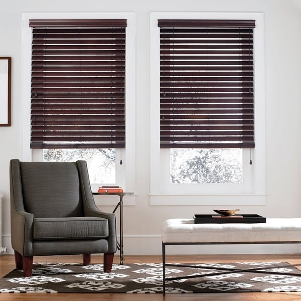 Basswood 2-inch Mahogany Wood Blinds