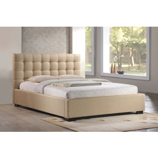 LuXeo Crescent Tufted Contemporary Upholstered Beige Platform Bed