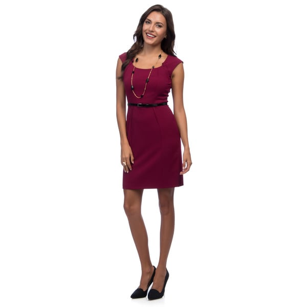 Marc New York Women's Pinot Red Cap Sleeve U-neck Dress