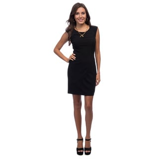 Marc New York Women's Black Piped Cap-sleeve Dress