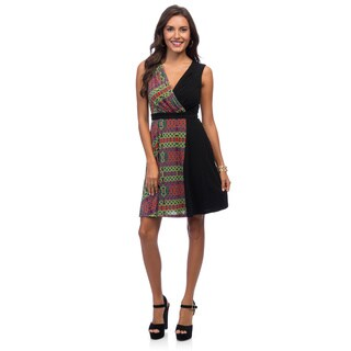 Marc New York Women's Black Two-tone Wrap Dress