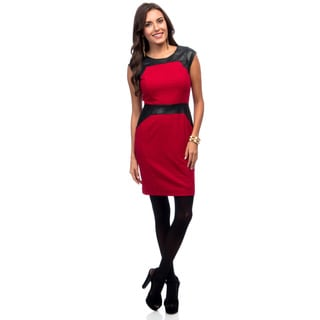 Marc New York Women's Raspberry Red and Leatherette Sheath Dress