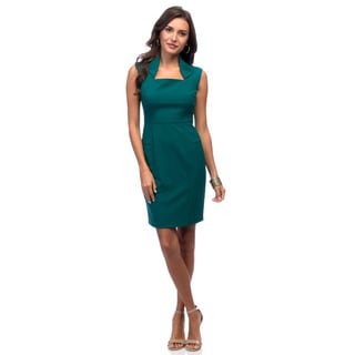 Marc New York Women's Spruce Green Envelope-collar Zip Back Dress